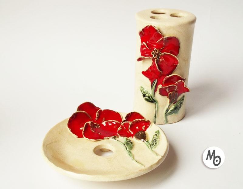 Mydelniczka + kubek na szczoteczki z ceramiki artystycznej