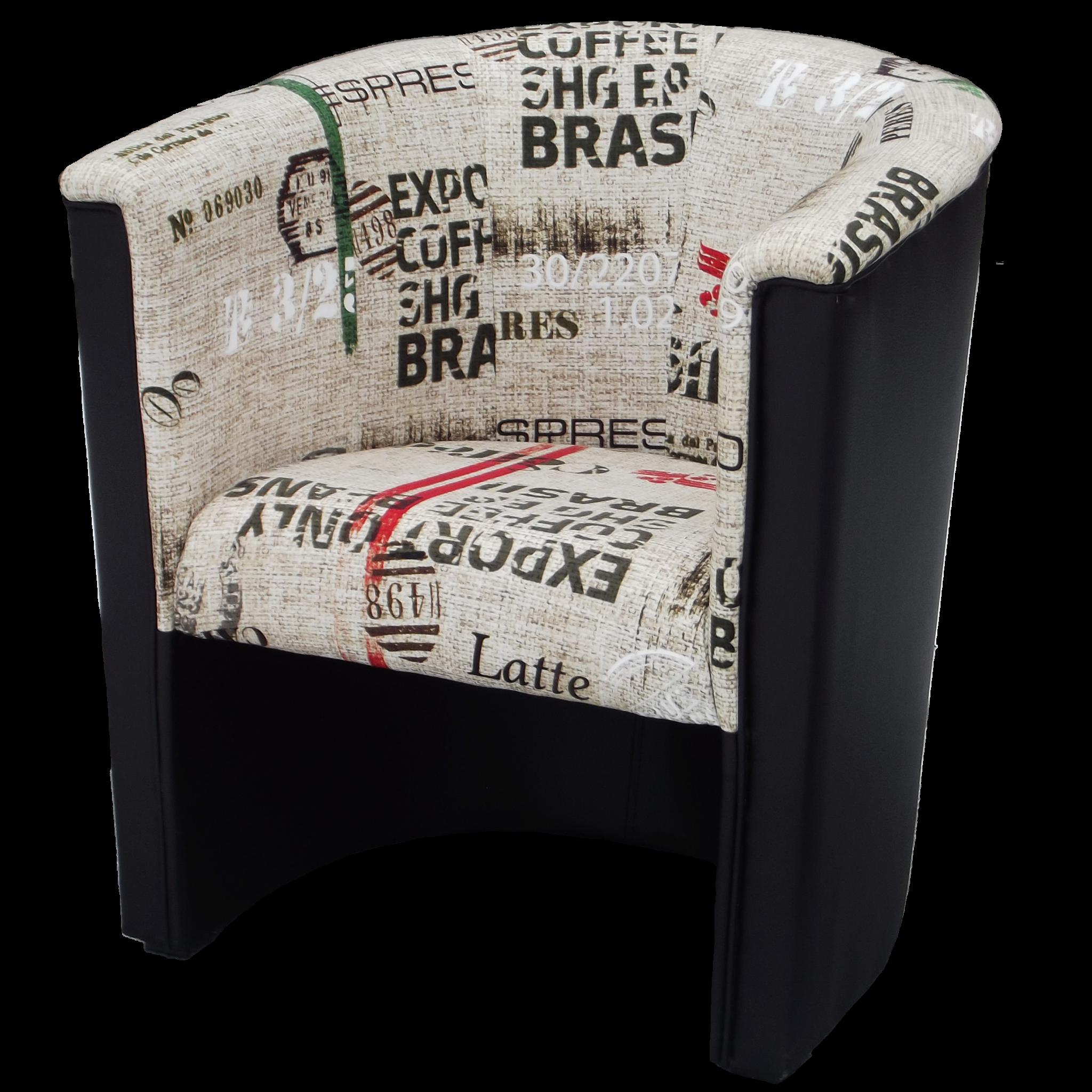 Fotel kubełkowy z motywem coffe