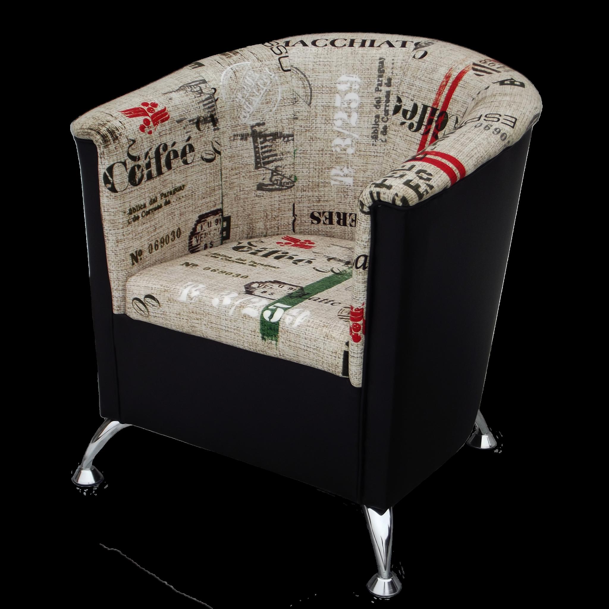 Fotel kubełkowy na nóżkach z motywem caffe