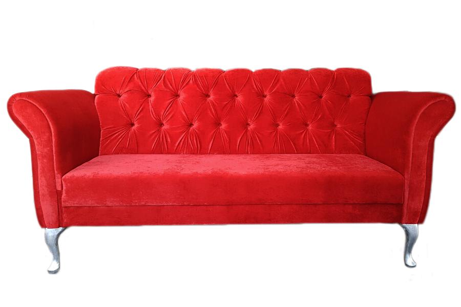 Sofa Laura nawiązująca do stylu Chesterfield.