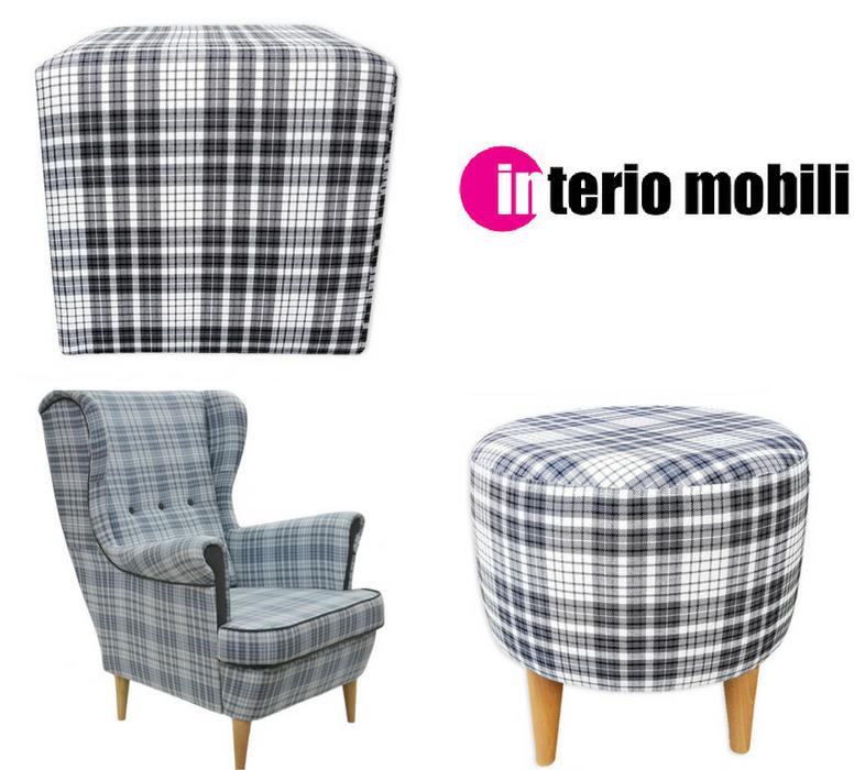 Pufy i fotele tapicerowane tkaniną z motywem szkockiej kraty w stylu angielskim.